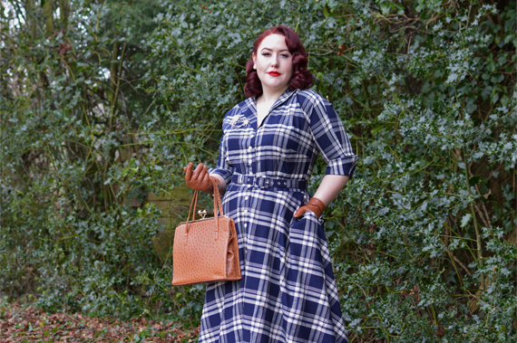 Unique Vintage Plus Size 1950s Style Navy Blue Plaid Sleeved Brooklyn Shirtdress fit review Miss Amy May