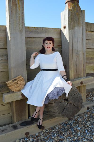 Devon white ivory dress Tan Bell brim straw hat unique Vintage plus size fit review Miss Amy May