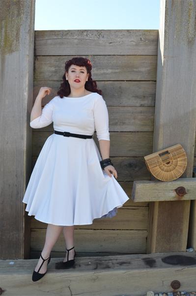 Devon white ivory dress unique Vintage plus size fit review Miss Amy May