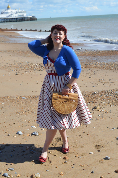 nautical Candy Stripe Nova Dress by Collectif Clothing mainline plus size fit review Miss Amy May
