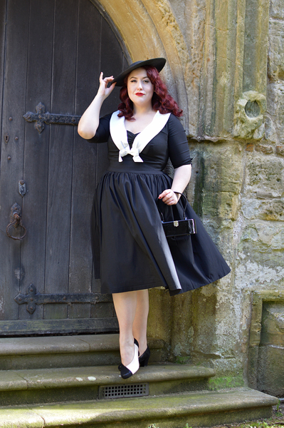 Black Lizard and Soft Beige Rosa heels by Hotter Shoes fit size review vintage inspired Black Straw Headband Disc Hat Unique Vintage Julien black white swing dress Miss Amy May plus size