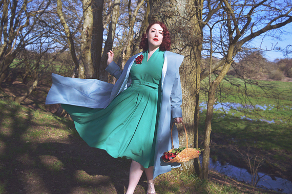 Aemela-Ivy Dress and Cleobella-Minty hooded swing water repellent coat by Miss Candyfloss made in Europe EU plus size pinup size fit review Miss Amy May