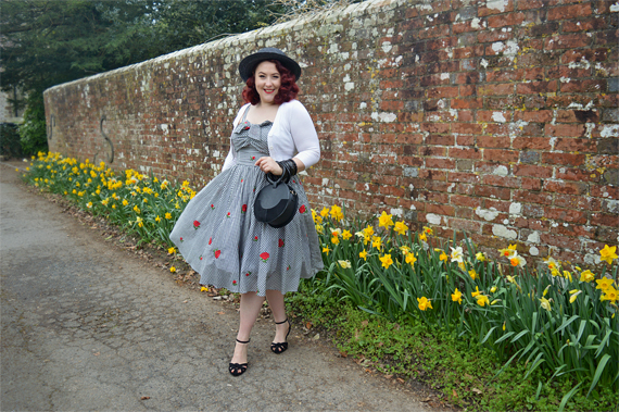 Golightly red rose floral print black and white gingham dress by Unique Vintage plus size fit review Miss Amy May
