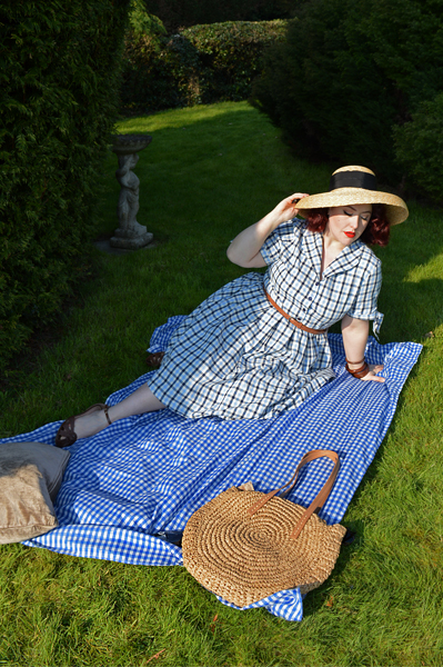 Claudine Blue Check shirtdress by Lindy Bop Large Round Straw shoulder bag Miss Amy May plus size pinup fit review