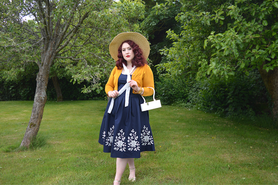 gifted navy and white Embroidered Amanda dress by Dolly & Dotty plus size vintage inspired dress fit size review Miss Amy May