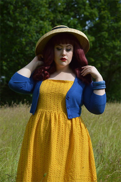 Joanie Clothing Yellow Eyelet lace Gemma sun dress gifted fit sizing plus size review pinup Miss Amy May