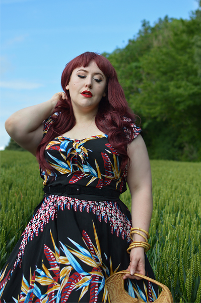 Black tropical Hawaiian Bird of Paradise Kalani swing dress Ronnie Bolero gifted by Unique Vintage x Kamehamehafit sizing review plus size pinup Miss Amy May