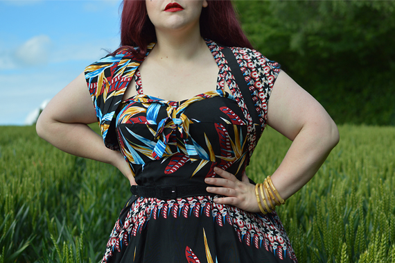 Black tropical Hawaiian Bird of Paradise Kalani swing dress Ronnie Bolero gifted by Unique Vintage x Kamehameha fit sizing review plus size pinup Miss Amy May