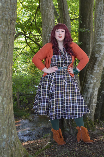 Brown Tatiana boots Lulu Hun Caterina Geek check print swing dress Collectif Vintage fit plus size review Miss Amy May pinup
