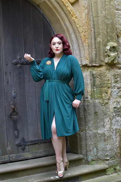 Green Claudia dress by Alexandra King for Deadly is the Female plus size fit review Miss Amy May