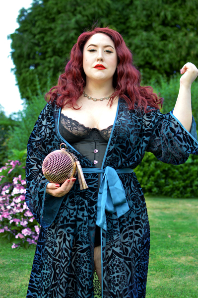 Teal Devore long velvet Robe by Fuller Figure Fuller Bust X Playful Promises collaboration line plus size fit review Miss Amy May vintage pinup
