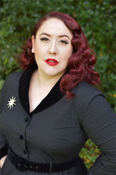 Collectif clothing Lacey black vintage swing dress velvet trim fit size review plus size pinup Miss Amy May
