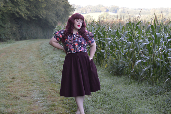 Hell Bunny Heron Blouse Pussybow vintage inspired print fit size review plus size pinup Miss Amy May