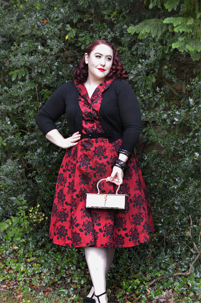 Elegant Floral Florence Dress gifted by Lady V Londonfit size review plus size pinup Miss Amy May