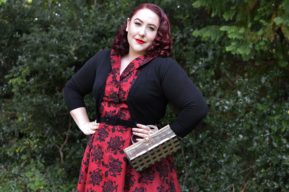 Elegant Floral Florence Dress gifted by Lady V London fit size review plus size pinup Miss Amy May