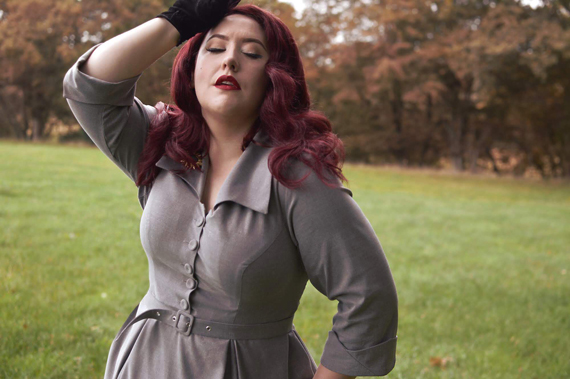 Miss Candyfloss gifted Leontine-Silver dress fit size review plus size pinup Miss Amy May