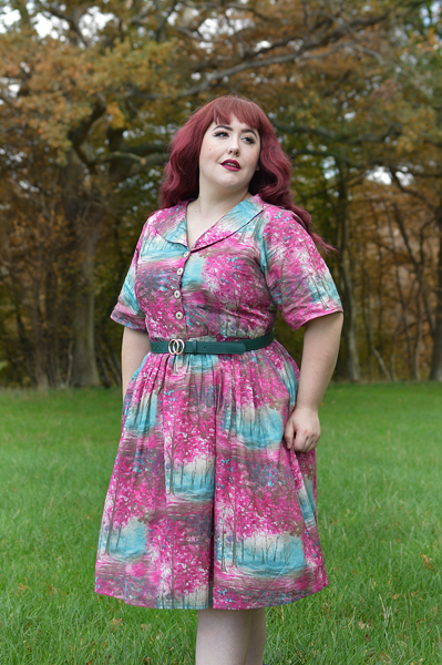 Meadow Print shirt Dress gifted by Love UR Look Clothing sustainable fashion ethically made vintage inspired. Fit sizing review plus size pinup Miss Amy May