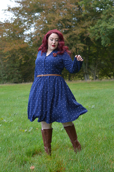 Dusk Blue Perrie polka dot dress gifted by Lindy Bop fit size review plus size pinup Miss Amy May