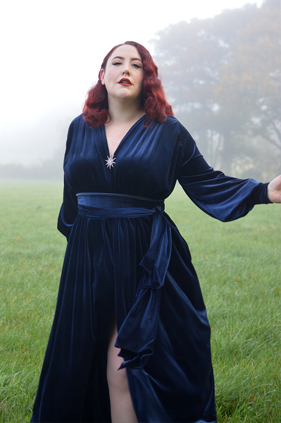 Navy Velvet Claudia gown by Alexandra King for Deadly is the Female fit size review plus size pinup Miss Amy May Deadly model