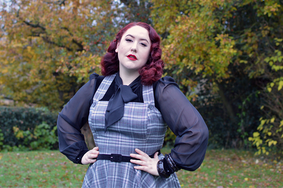 Hell Bunny Frostine pinafore fit size review plus size pinup Miss Amy May hellbunny.com discount code 20% off Amymay20!%