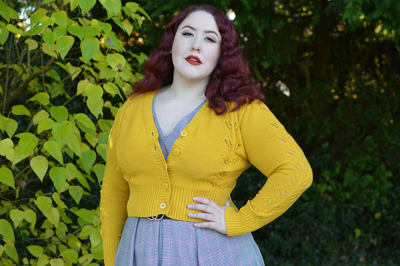 Voodoo Vixen Julia 40s knit cardigan plus size pinup fit review Miss Amy May