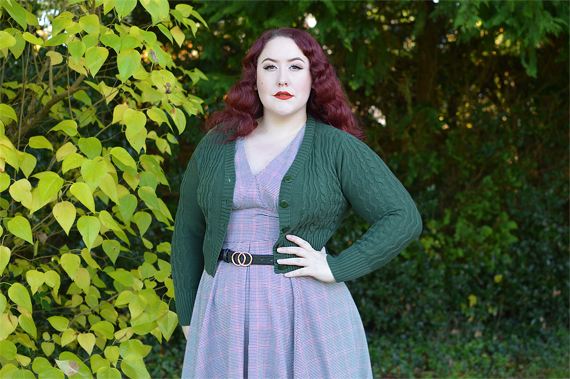 Voodoo Vixen Mabel 40s cable knit cardigan plus size pinup fit review Miss Amy May