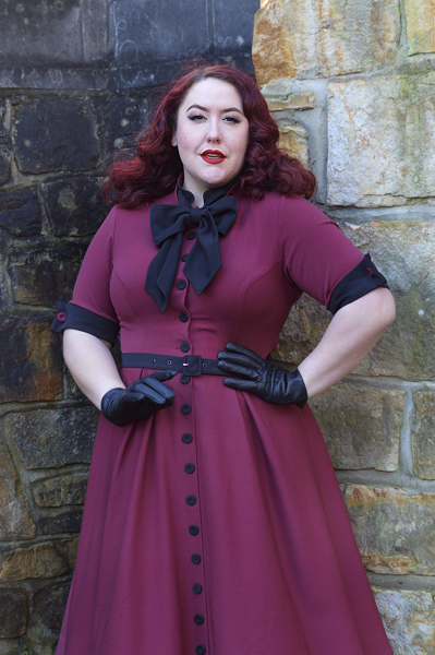 Edelie-Lee-Burgundy dress gifted by Miss Candyfloss Acid Doll collaboration fit size review plus size pinup Miss Amy May