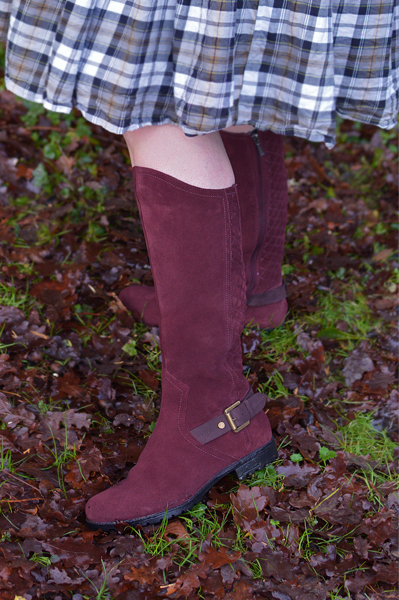 SANDRINGHAM BOOTS knee high quilted quality Hotter Shoes Miss Amy May plus size pinup review