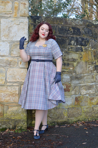 Tatum-lee tartan dress Dear Marilyn gifted by Miss Candyfloss fit size review plus size pinup Miss Amy May