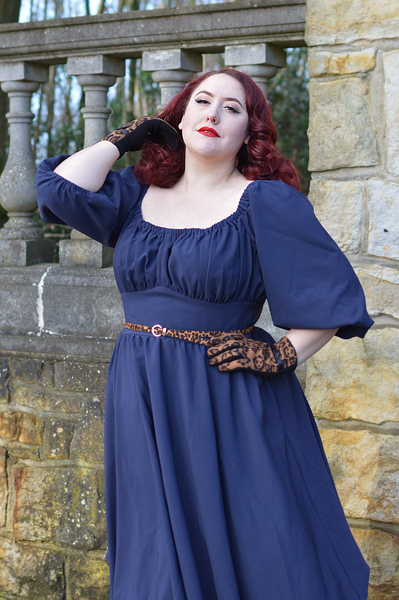 Vixen by Micheline Pitt Vacation peasant dress 60s plus size fit review miss Amy May
