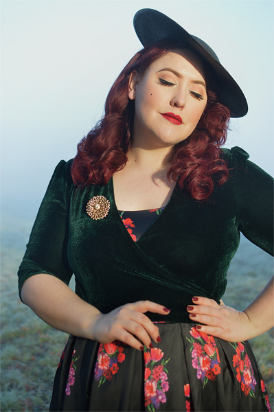 Dolly & Dotty Amanda dress black satin pink red rose floral print gifted fit size review plus size pinup Miss Amy May