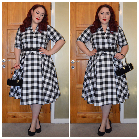 Miss Amy May Chanelle-Lou dress [gifted by] Miss Candyfloss Vintage Style Bag [gifted by] Lola Von Rose Lucilla Block heels by JustFab  [Referral link for money off]