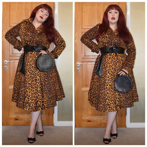 Leopard Scarlett coat by Collectif* Faux leather belt off old eShakti dress [Referral code AmyHarman for money off] All Around Cool bag by JustFab [Referral link for money off] Old Joyce heels by Lindy Bop* miss amy may