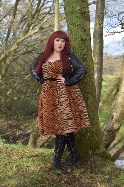 Hell Bunny Tora 50s dress tiger stripe print gifted fit size review by plus size pinup Miss Amy May