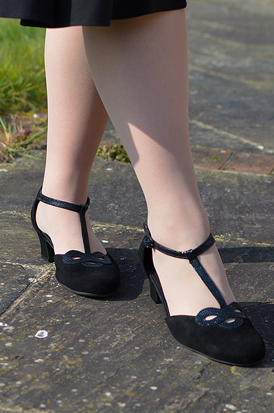 Black Darcy heels gifted by Hotter Shoes fit size review Miss Amy May t-strap ankle strap vintage inspired shoes heels