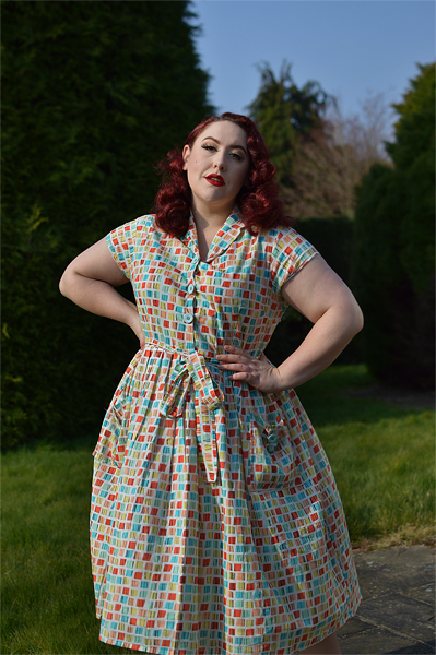 Square Print Shirt Dress gifted by Love UR Look plus size pinup Miss Amy May fit size review