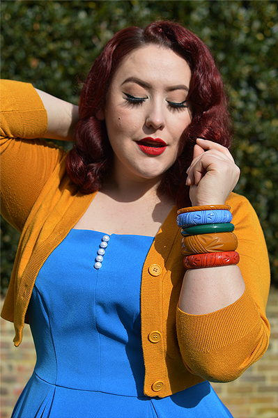 Miss Amy May features vintage inspired rockabilly jewellery small business Bow and Crossbones, carved bangles, bangle stacks