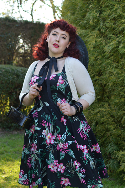 : Black Kalani 50s dress gifted by Hell Bunny Discount code Amymay20!% for 20% off hellbunny.com plus size pinup fit size review Miss Amy May