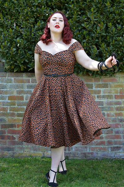 Plus size pinup Miss Amy May wears the Leopard Print Scarlett dress by Alexandra King for Deadly is the Female for a fit size review