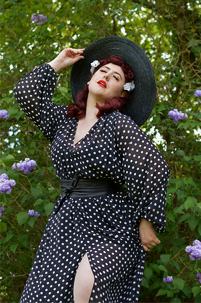 Black Polka dot Claudia Maxi dress by Alexandra King for Deadly is the Female modelled by Plus size pinup Miss Amy May for a fit and size review