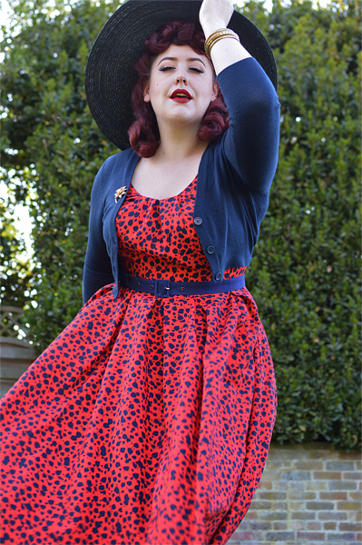 Plus size pinup Miss Amy May fit reviews the Flava-Rose dress gifted by Miss Candyfloss