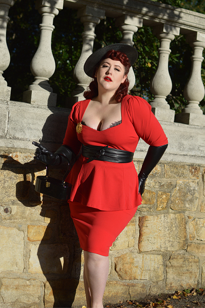 The Betty Peplum top and Bang Bang wiggle skirt combo gifted by Cerys' Closet for a fit and size review by plus size pinup Miss Amy May