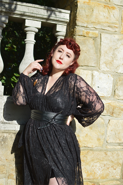 Fit and size review of the Lace Claudia maxi dress by Alexandra King for Deadly is the Female by plus size pinup Miss Amy May
