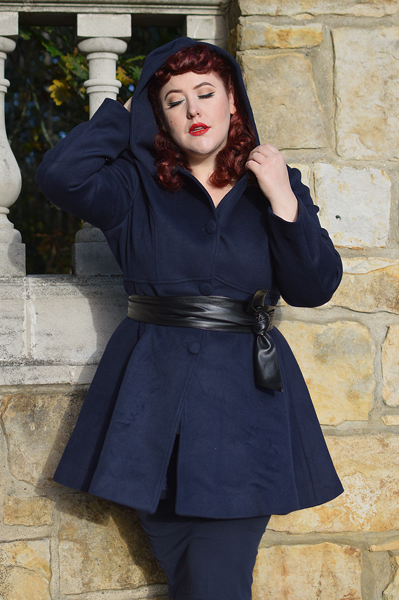 Review of the wool Timeless Swing coat #1117 gifted by Shop Xiaolizi by plus size pinup Miss Amy May