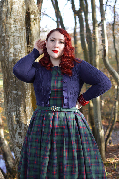Fit and size review by plus size pinup Miss Amy May of the Annie Retro Check dress gifted by Dolly & Dotty