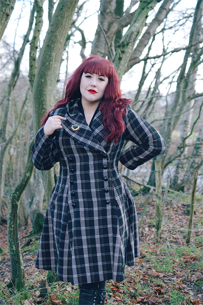 Plus size Pinup Miss Amy May models the Brooklyn Coat gifted by Hell Bunny in her fit and size review