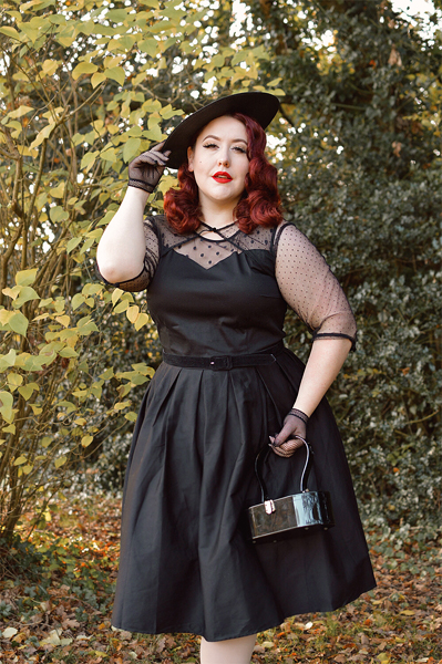fit and size review by plus size pinup Miss Amy May of the Elizabeth black dress gifted by Dolly & Dotty