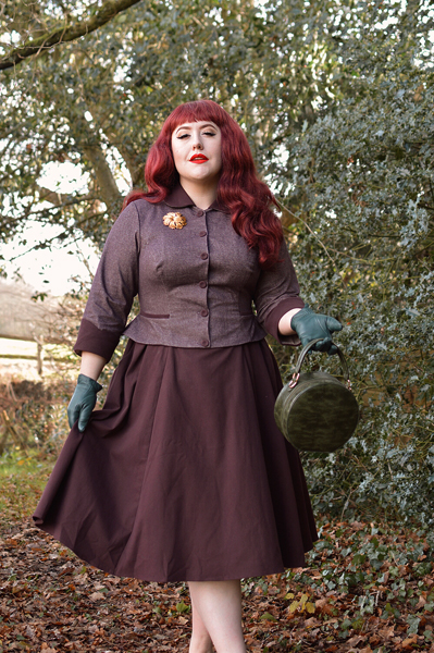 Plus size pinup Miss Amy May models the Liolia-Bo dress gifted by Miss Candyfloss for a fit and sizing review
