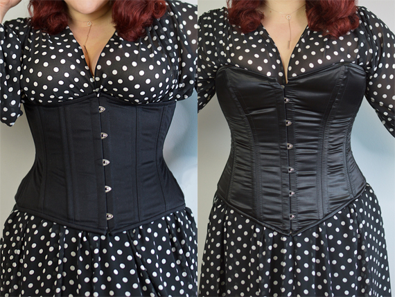 Miss Amy May wearing the Glamorous Corset Jade curvy black cotton underbust corset and Jenna black satin overbust corset