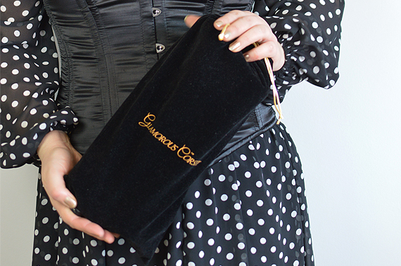Glamorous Corset black velvet storage pouch for their corsets